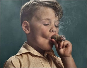 kid smoking cigar